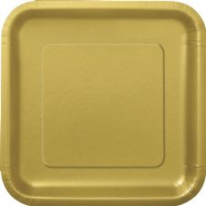 "16 Gold Paper Party Plates 7""/18cm Square"